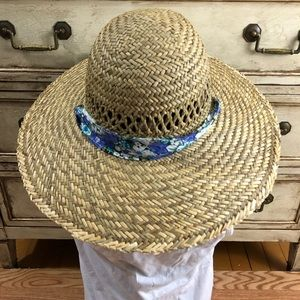1683fcfa71e NWOT Rush Straw Hat Floral Tropical Trends